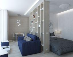 3D model Small apartment living room