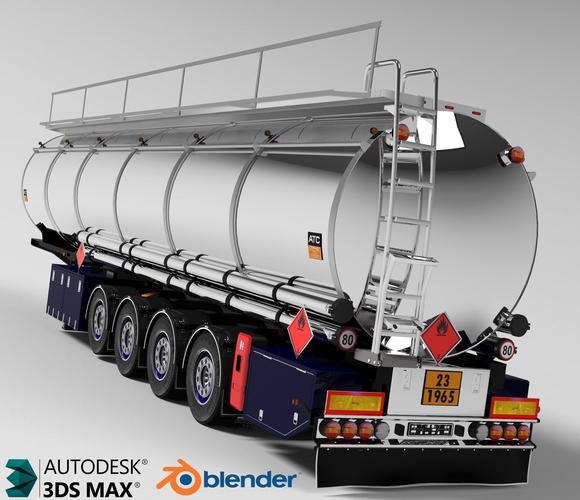 fuel tanker chromed 3d model obj mtl 1