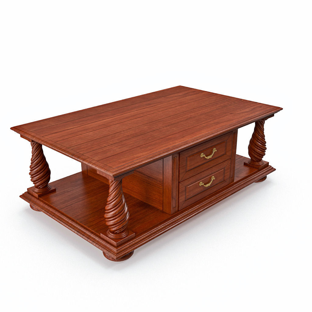 Wooden classic coffee table drawers 3D