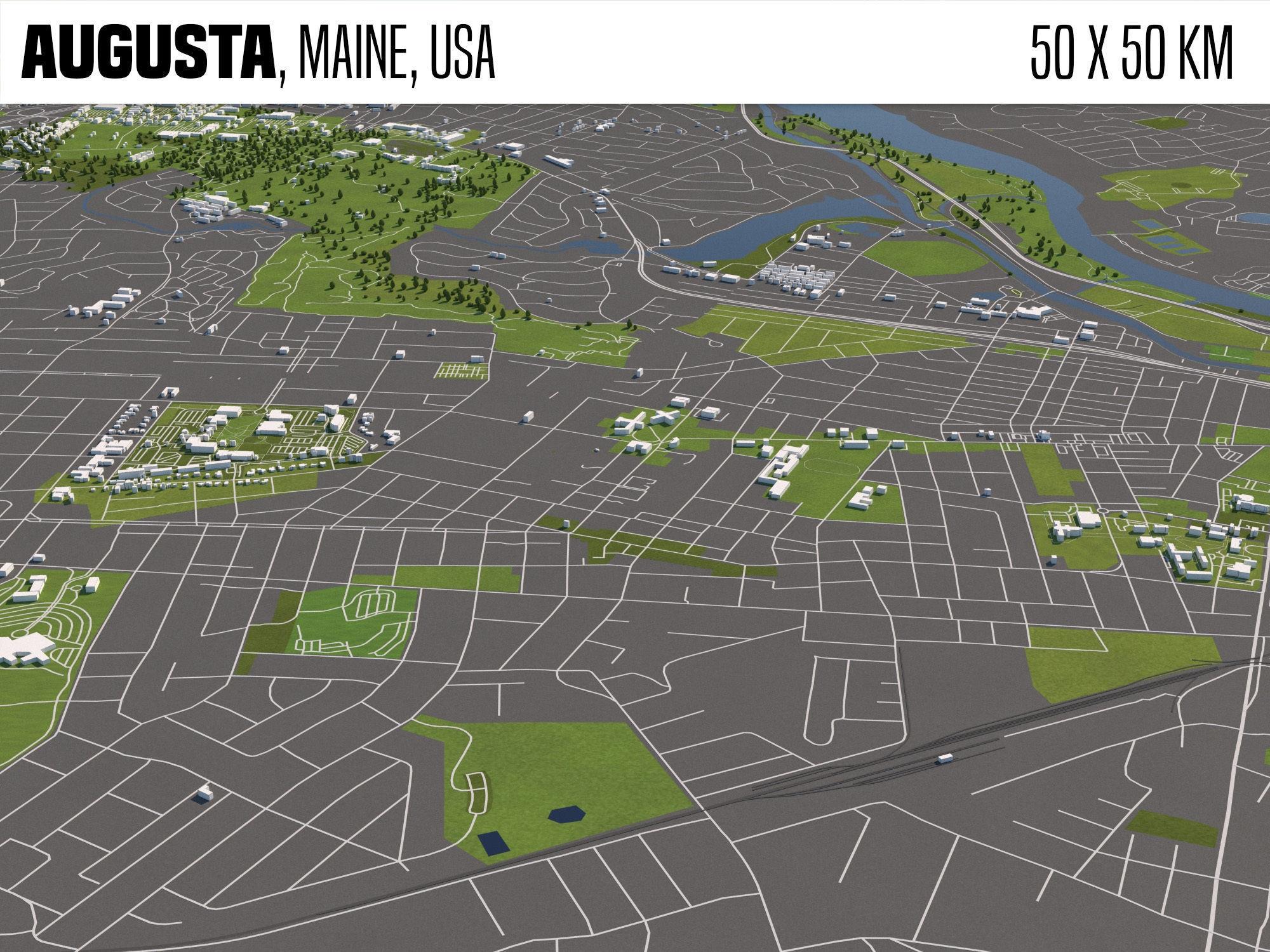 Augusta Maine USA 50x50km