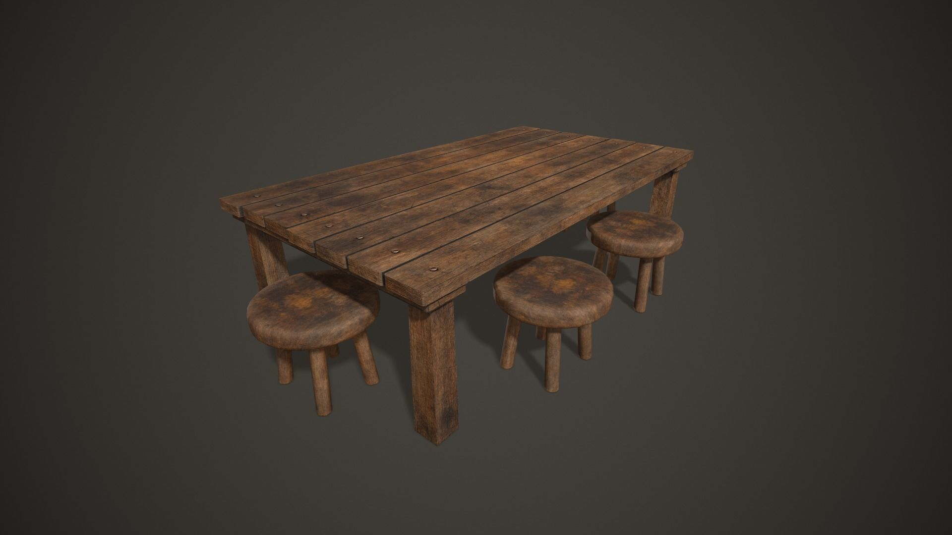 Wooden Tavern Table and Chairs