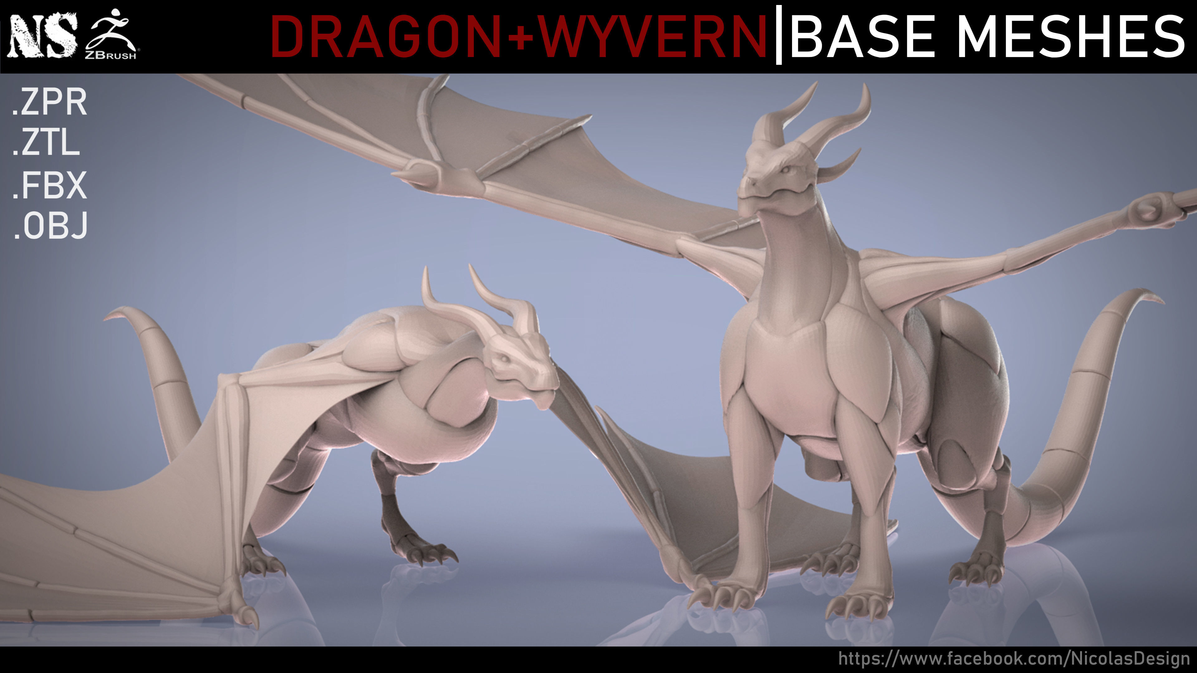 Dragon and Wyvern Base Meshes