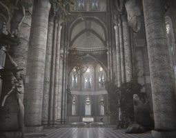 3d model VR / AR ready old gothic castle