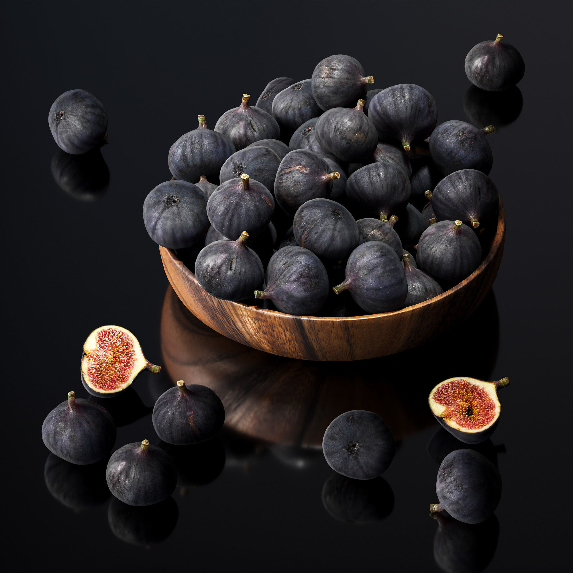 Figs in a wooden bowl