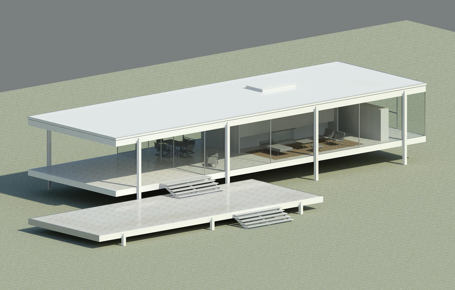 Farnsworth house 3d model fbx dwg rvt for Revit architecture modern house design 1