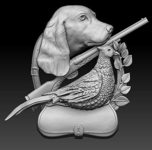 hunter 3D print CNC model dog  pheasant