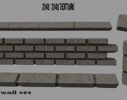 low-poly 3d model wall set 1