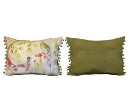 3d voyage cushion - peacocks -pom pom pillow