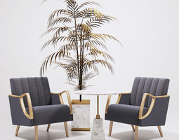 horta fauteuil armchairs and golden palm 3d model game-ready