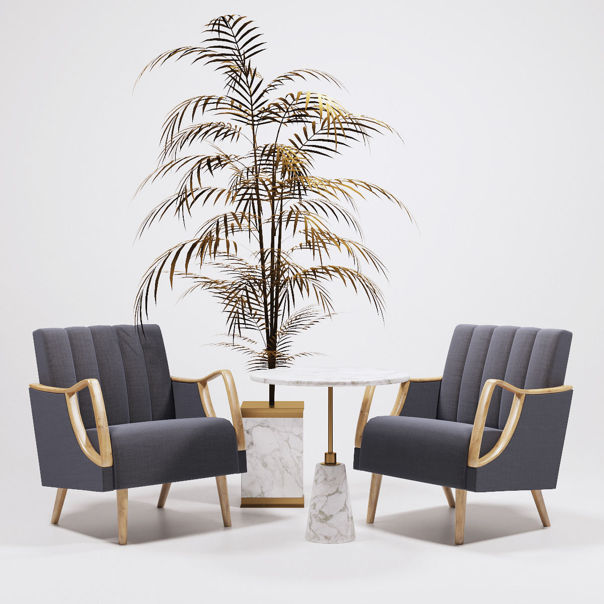 Horta Fauteuil Armchairs and golden palm