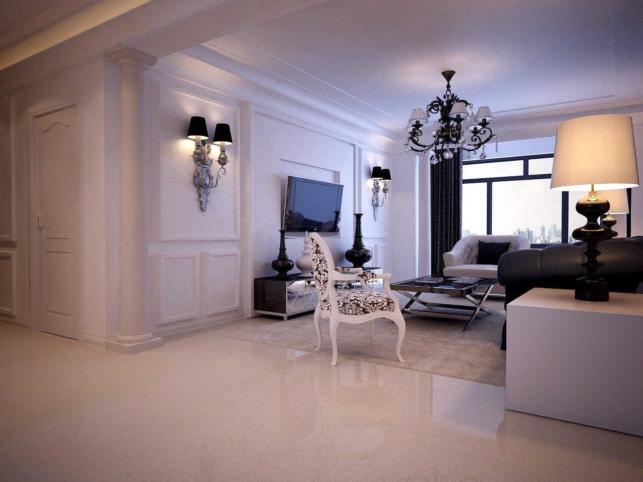 Light living room 3d model max for Living room 3d max