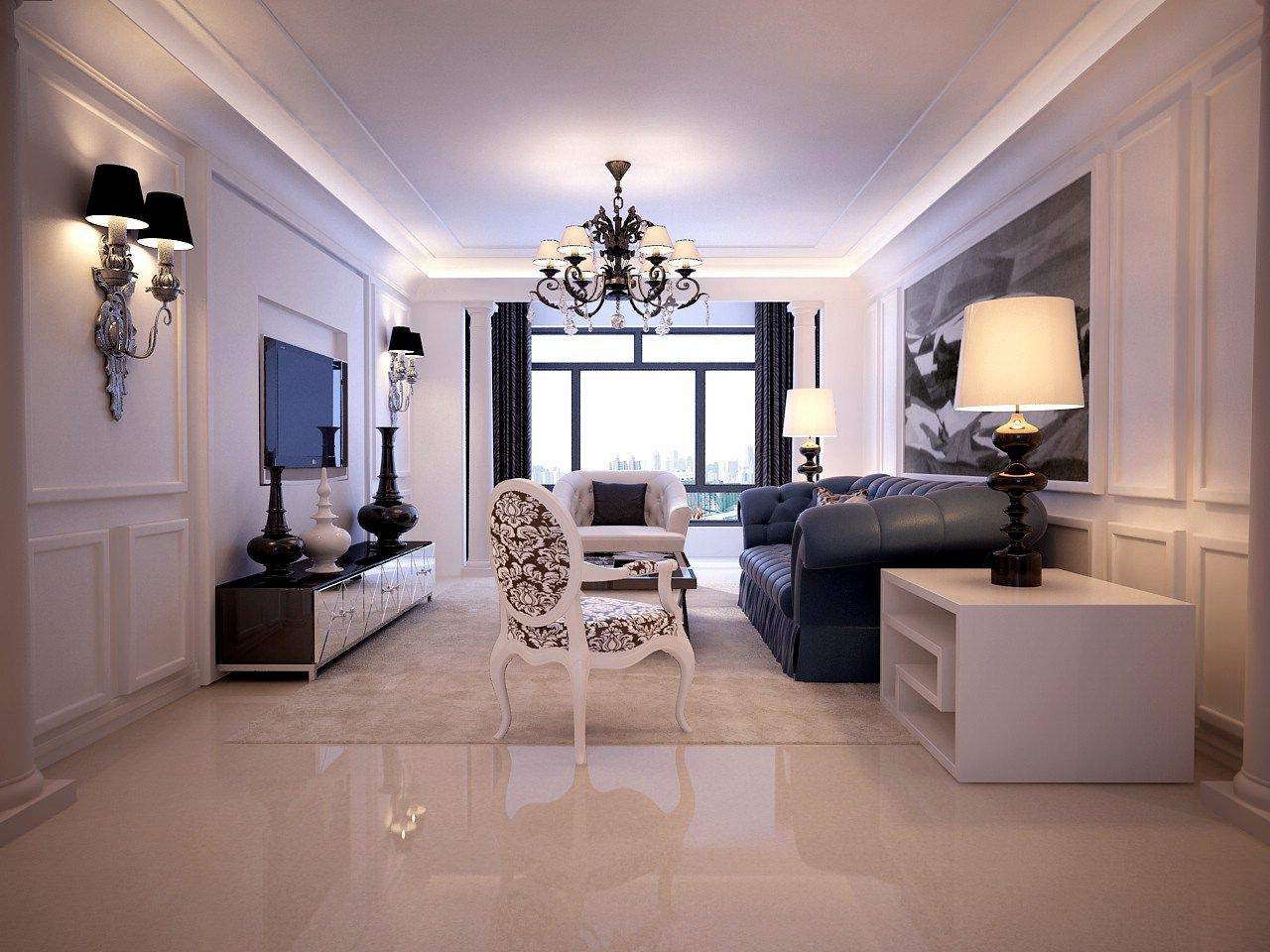light living room 3d model max. Black Bedroom Furniture Sets. Home Design Ideas