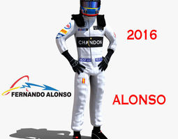 fernando alonso 2016 3d asset game-ready rigged