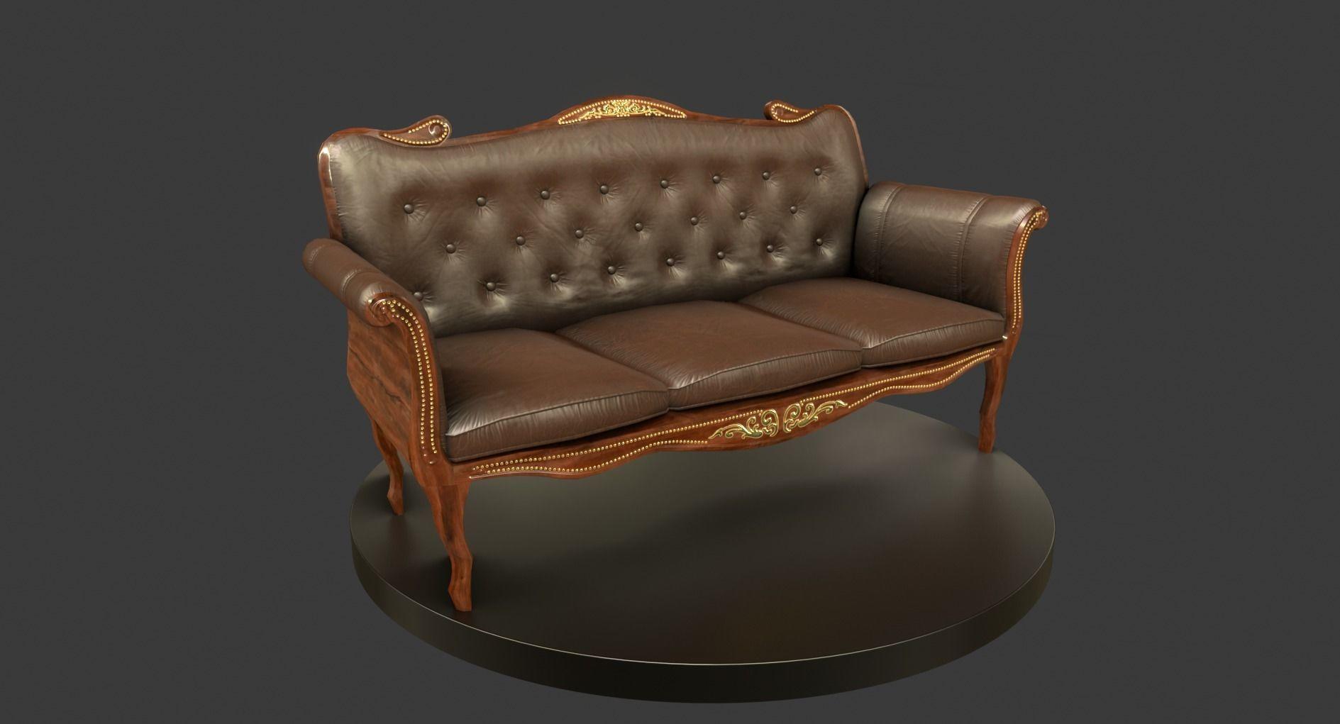 3D model Vintage Wooden Sofa | CGTrader