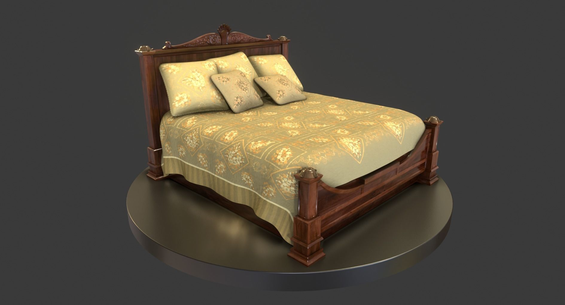 3d Model Vintage Wooden Bed Cgtrader