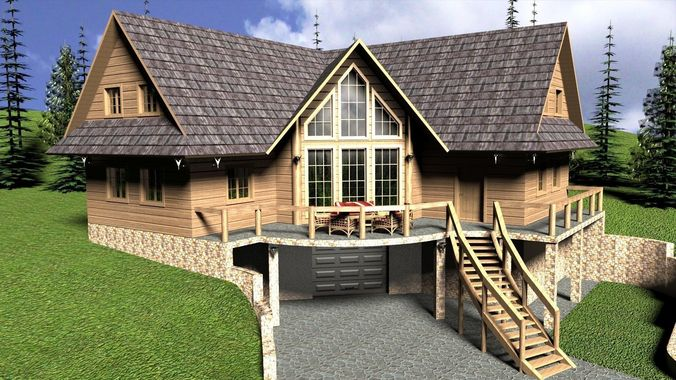 log home floor plans with garage log house with garage 3d cgtrader 27217