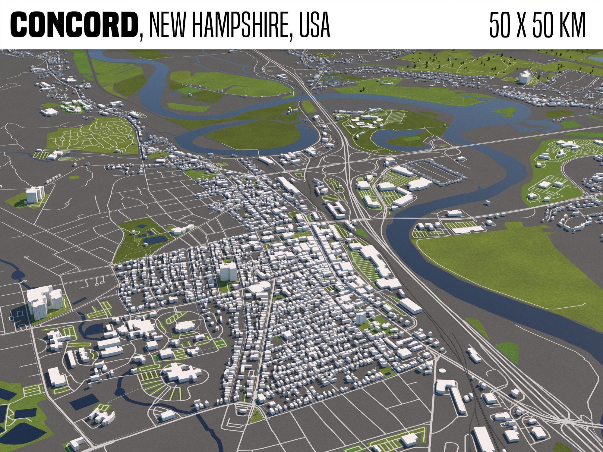 Concord New Hampshire USA 50x50km