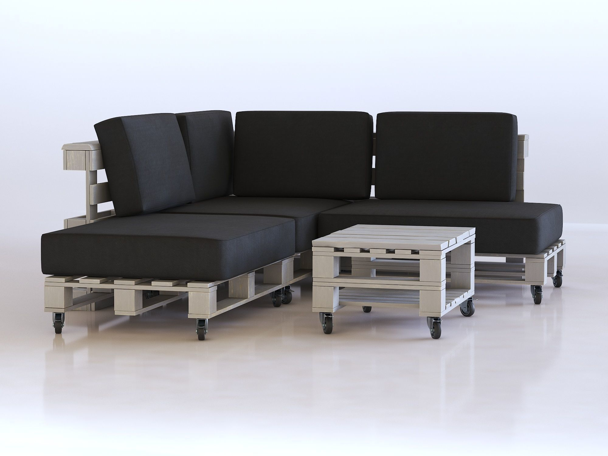 Living Room Pallet Furniture 3d Model Pbr Cgtrader