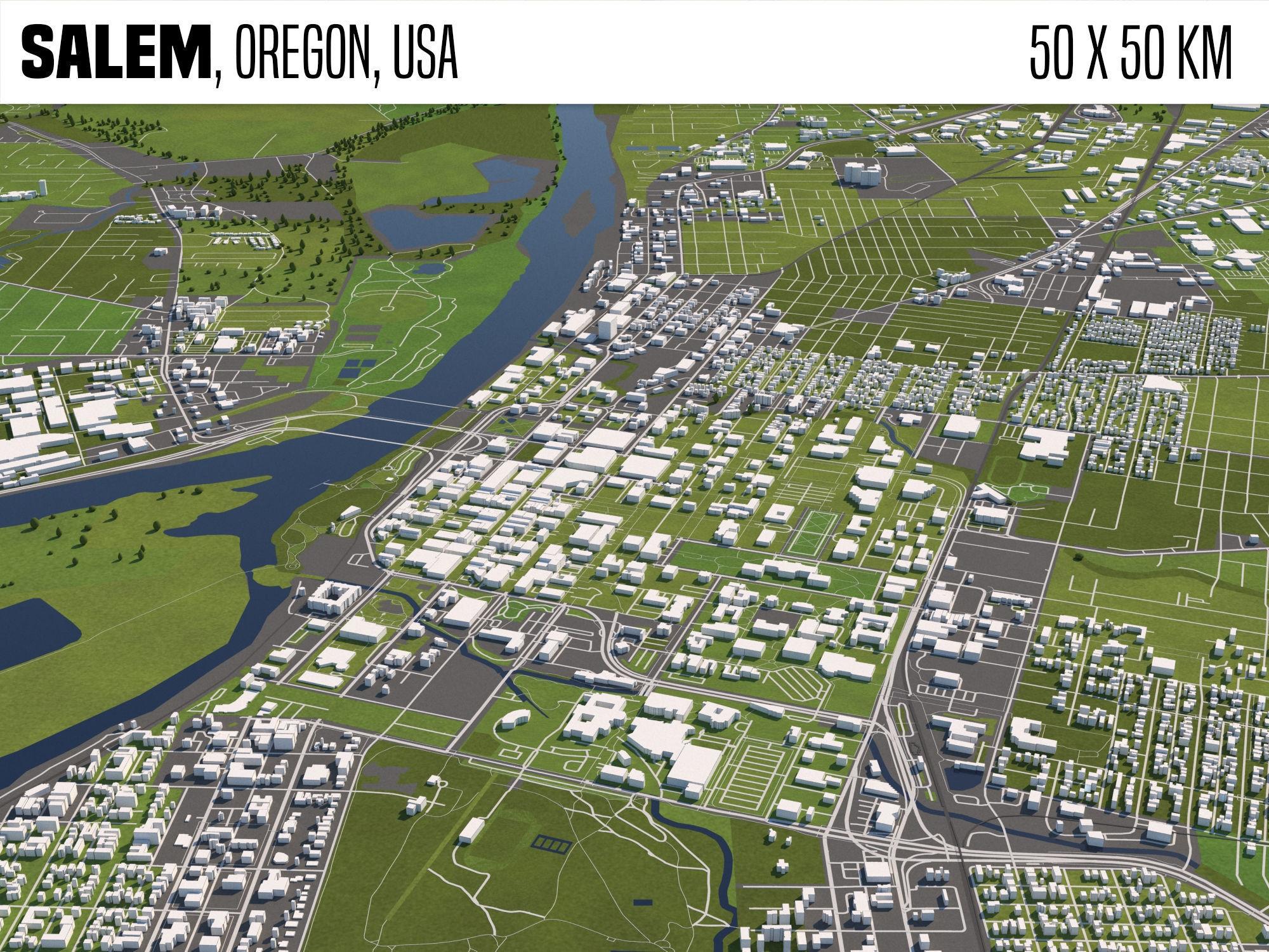 Salem Oregon USA 50x50km
