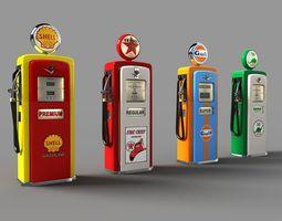 old gas pumps 3d