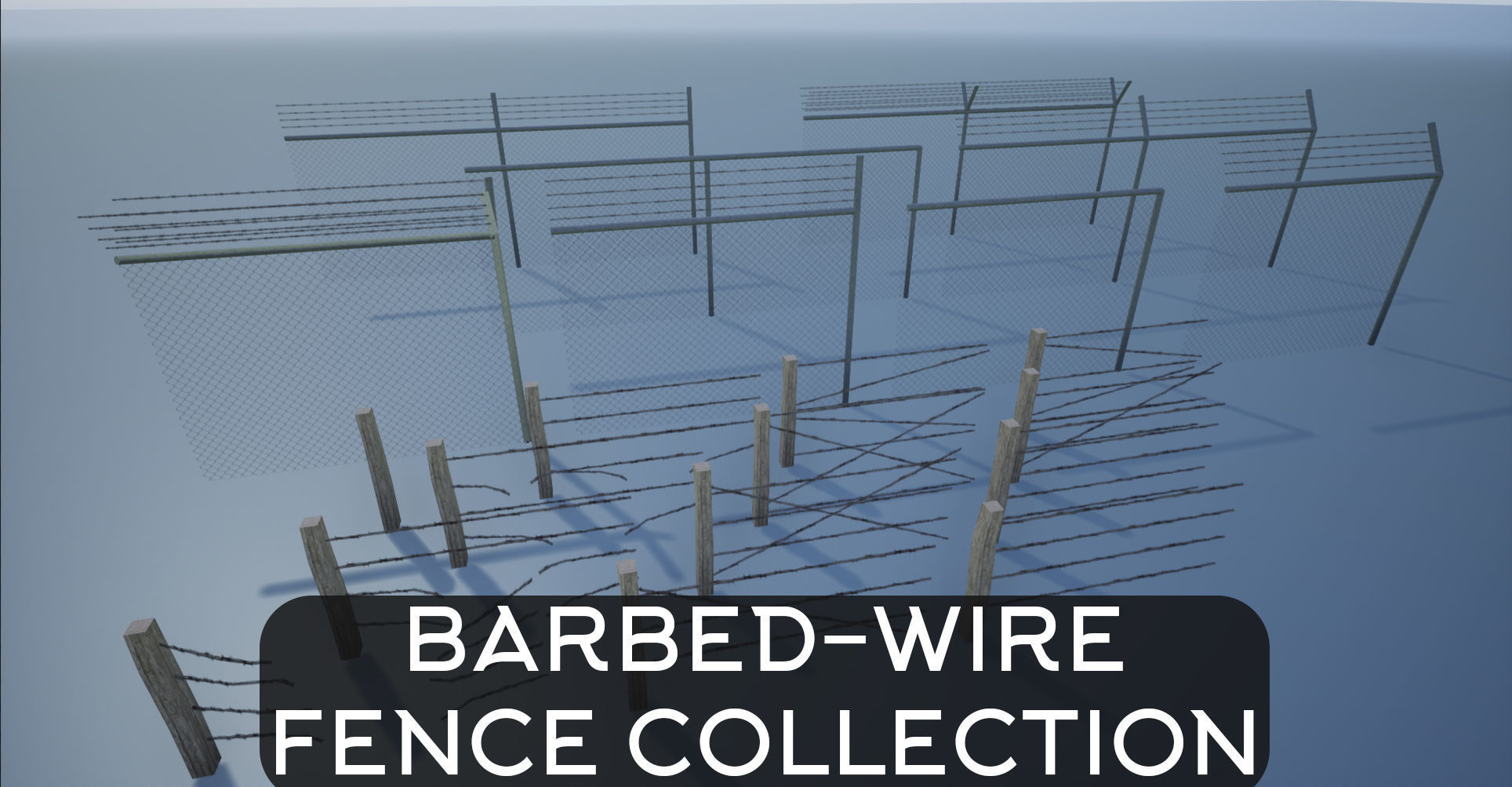 Modular Barbed-Wire Fence Collection