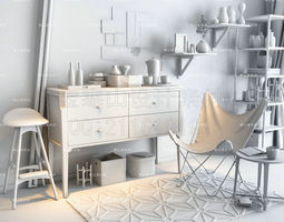 3D Modern Furniture Set furnishing