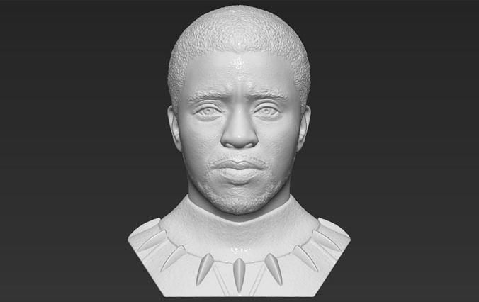 Chad Boseman Black Panther bust 3D printing ready stl obj
