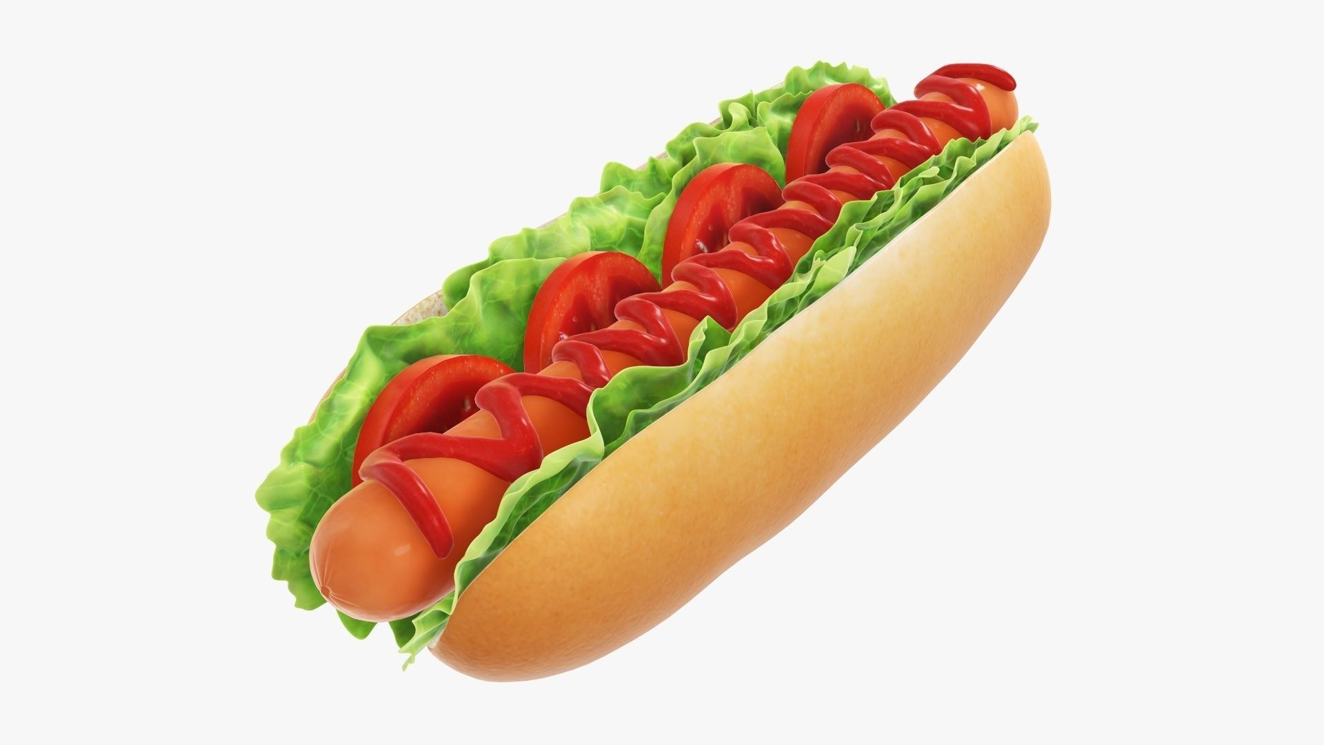 Hot dog with ketchup salad and tomato