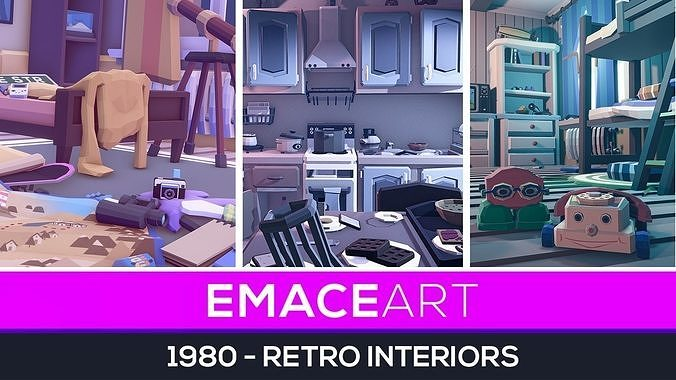 SUMMER UPDATE - 1980 - Retro Youth Room  3D Mid Poly