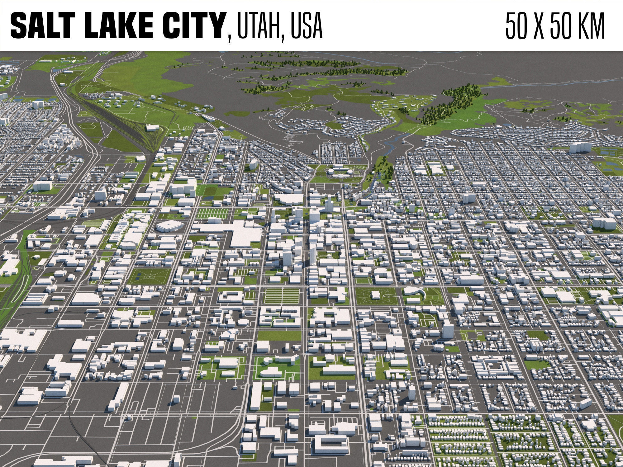 Salt Lake City Utah USA 50x50km