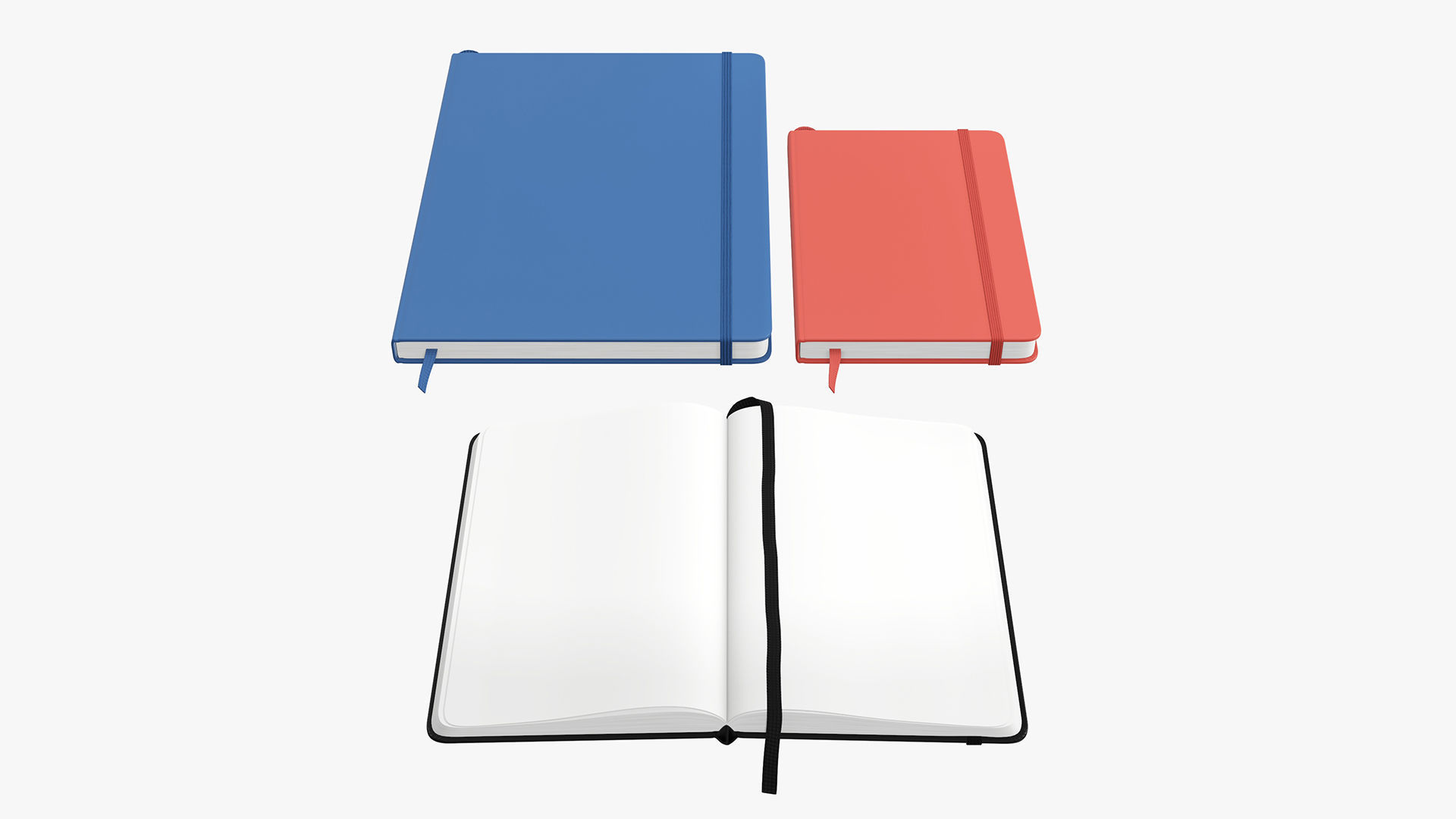 Notebooks hardcover with strap open close
