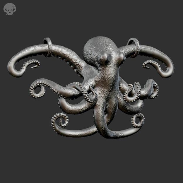 Octopus Pendant 3d Model 3d Printable Obj Stl Cgtrader Com