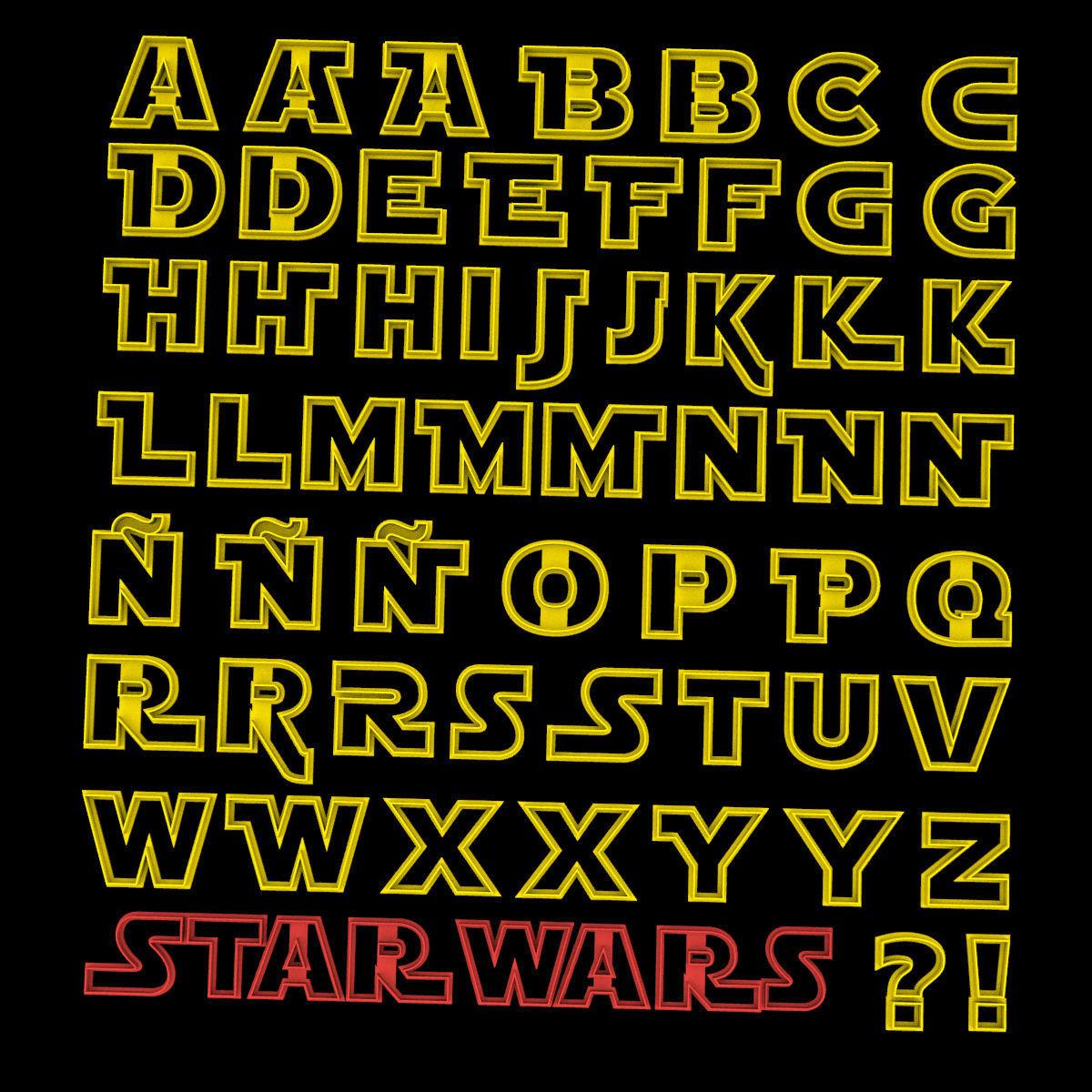 PACK x 55 STAR WARS JEDI COOKIE CUTTER ALPHABET LETTERS 8CM