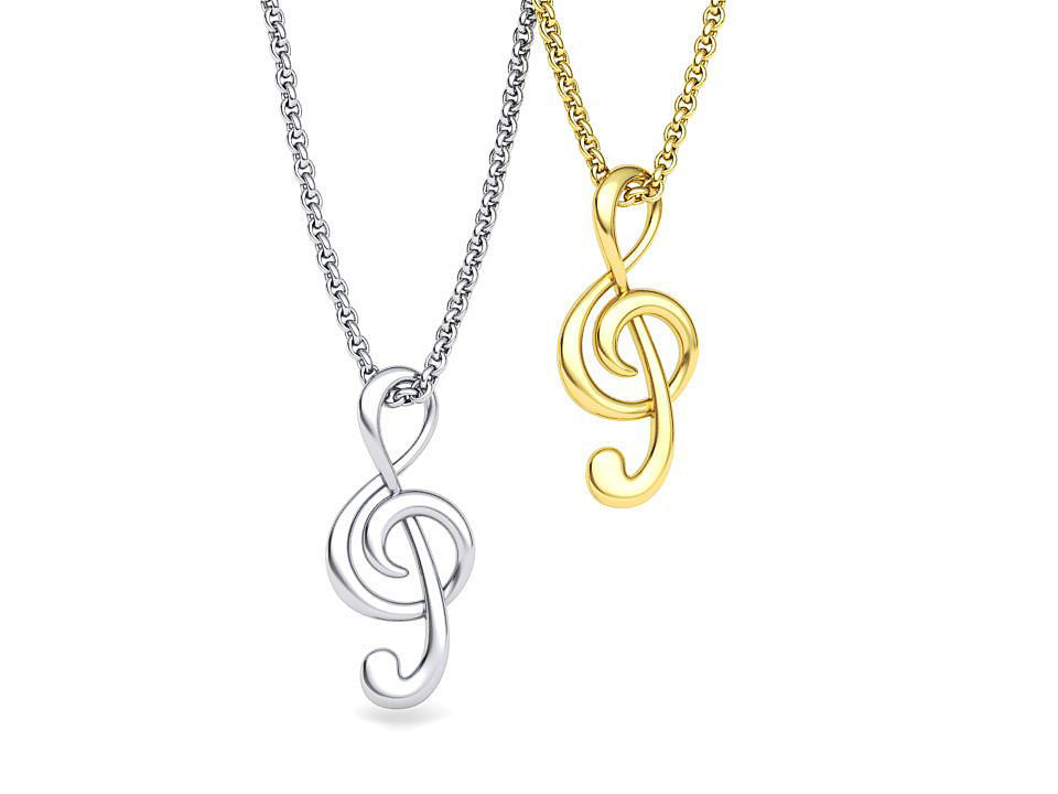 Music Note Treble Clef Note Necklace Pendant music 3dmodel