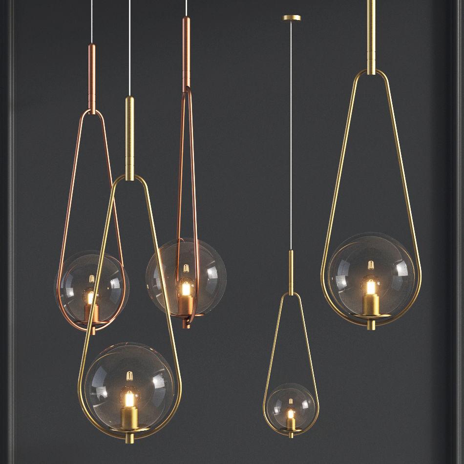 Pendant Lamp Loop Brass Glass