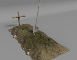 3d dirt grave and shovel