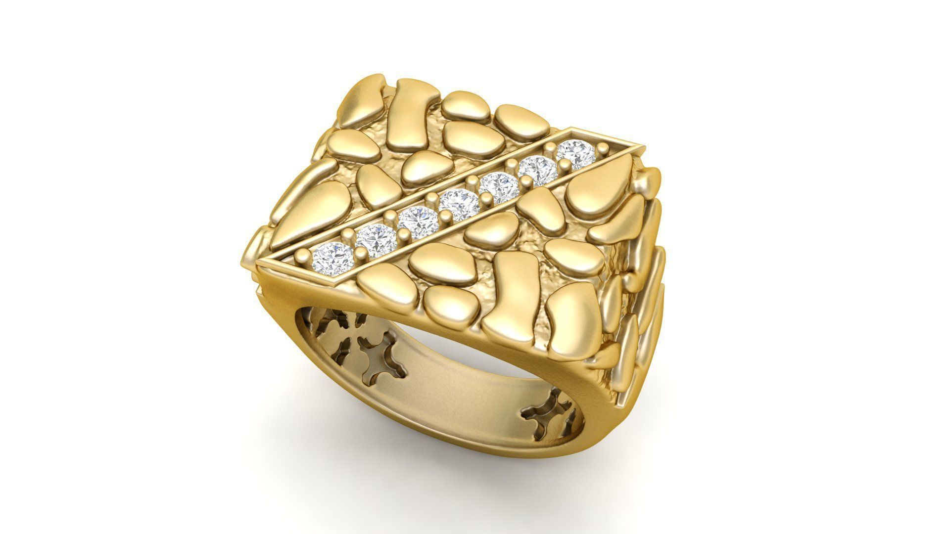 3D printable model Gents Diamond Nugget Ring 01