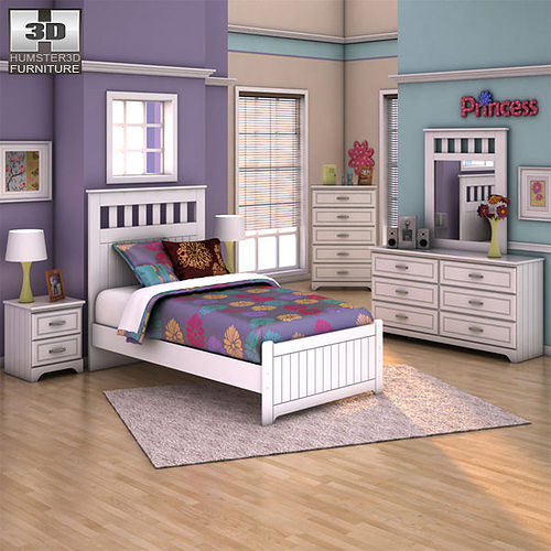 Ashley Lulu Panel Bedroom Set 3d Asset Cgtrader
