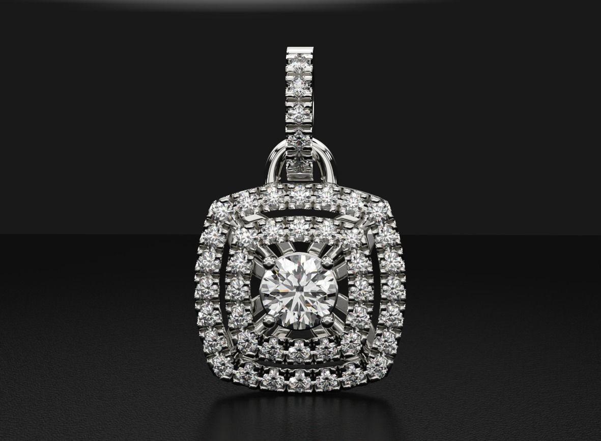 Stylish pendant with diamonds for girls white gold 533