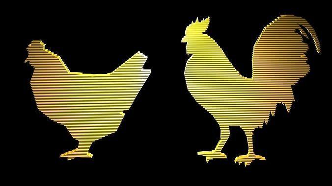 Low poly chicken symbols 1