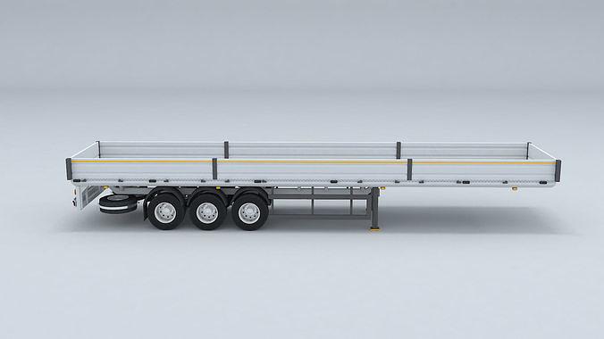 Flatbed Trailer For Semi Truck Low-poly model -3D Printer Models