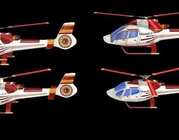 4 game-ready lowpoly helicopters 3d model low-poly max obj fbx