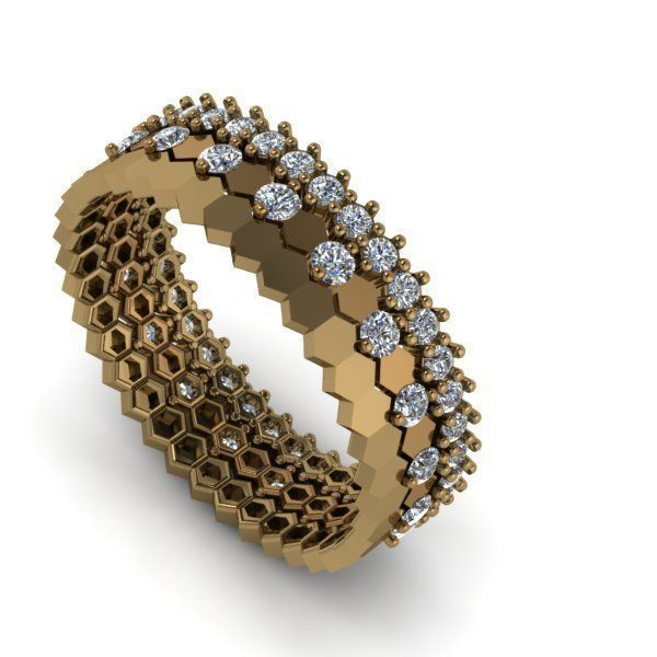 Collection of honeycomb rings with and without diamonds