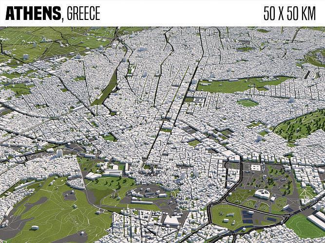 Athens Greece 50x50km