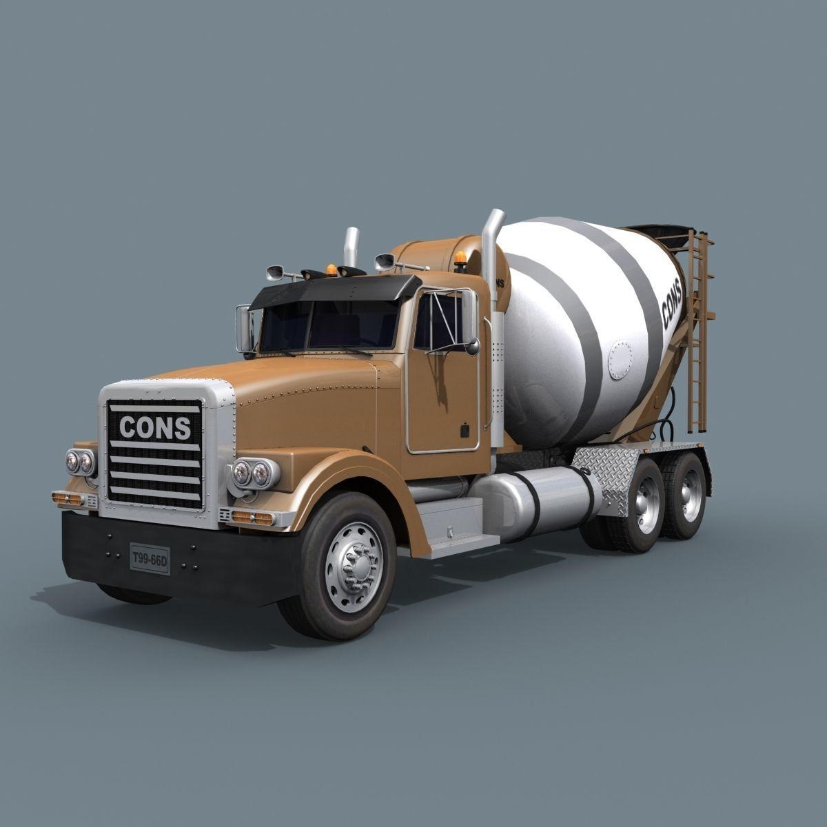 Fine Cement Truck - 3d animated mixer model