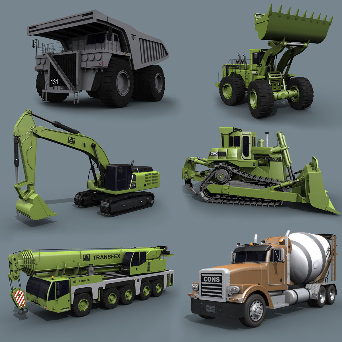 Mighty Mining Pack - 3d animated construction model