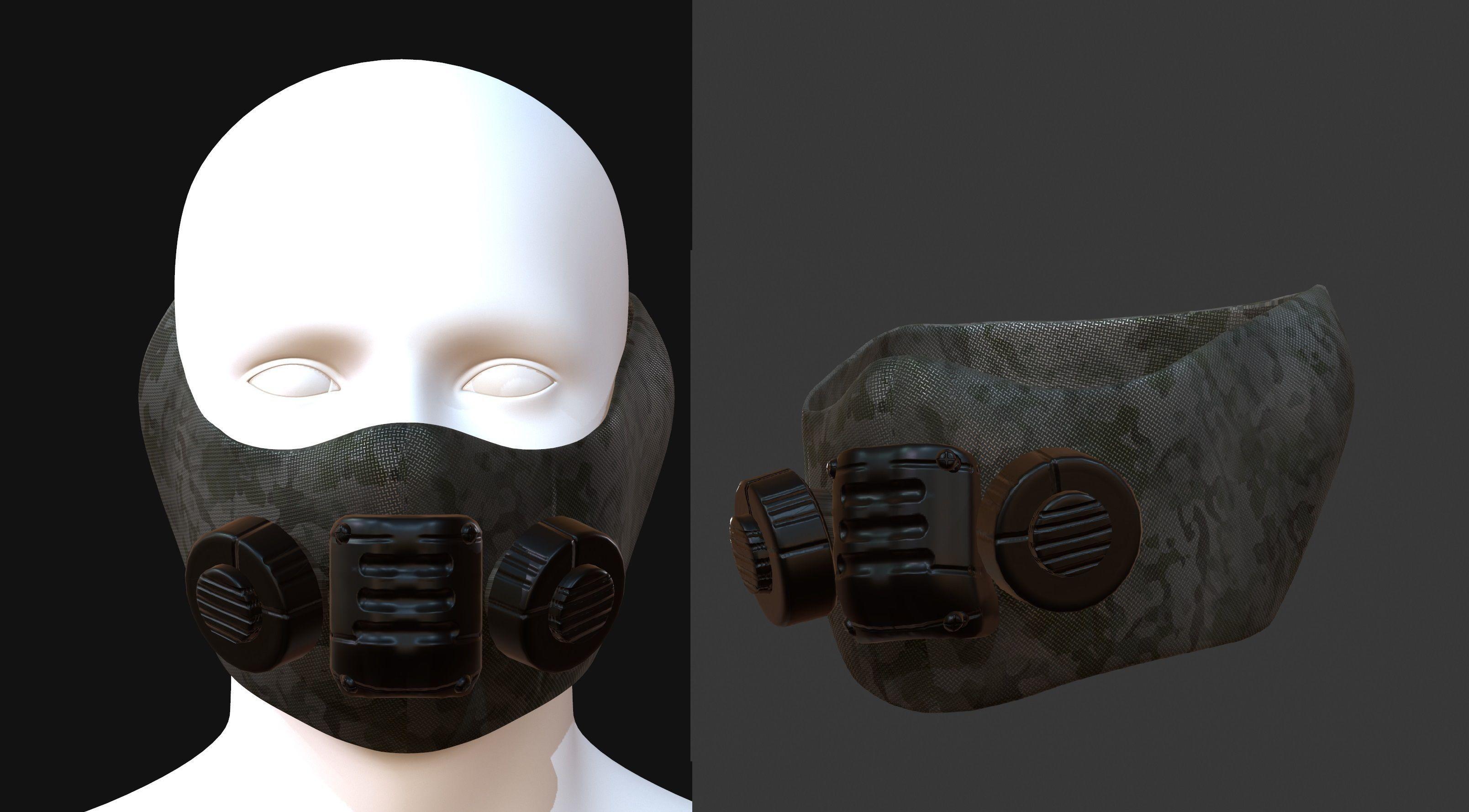 Gas mask helmet 3d model scifi Low-poly