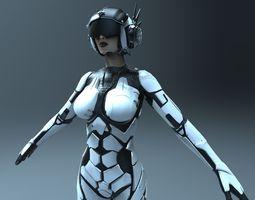 3d sci-fi female character