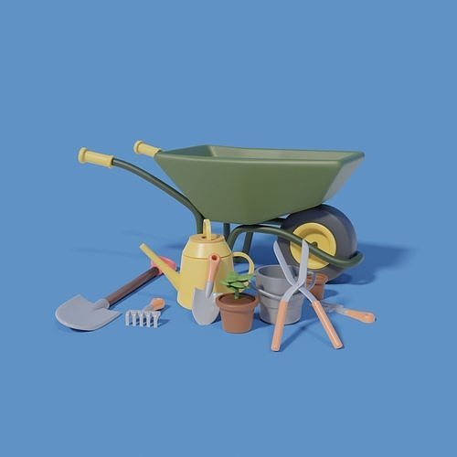Gardening Tools with wheelbarrow shovel and more