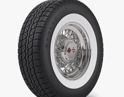 Classic Wire Wheel and Tire BFG 3D Model